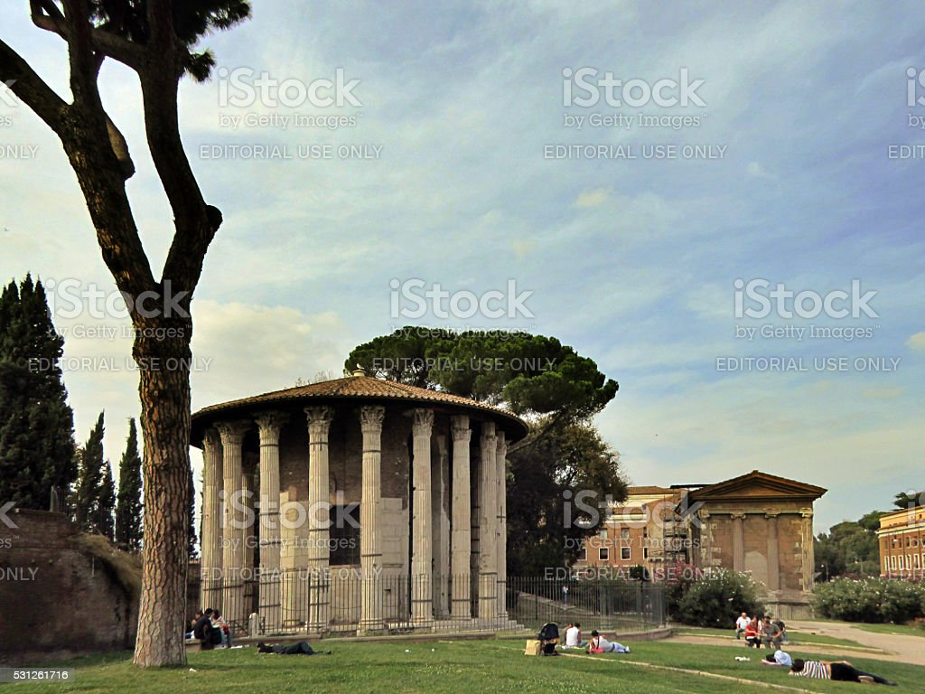Round Roman Temple in Rome, Italy stock photo