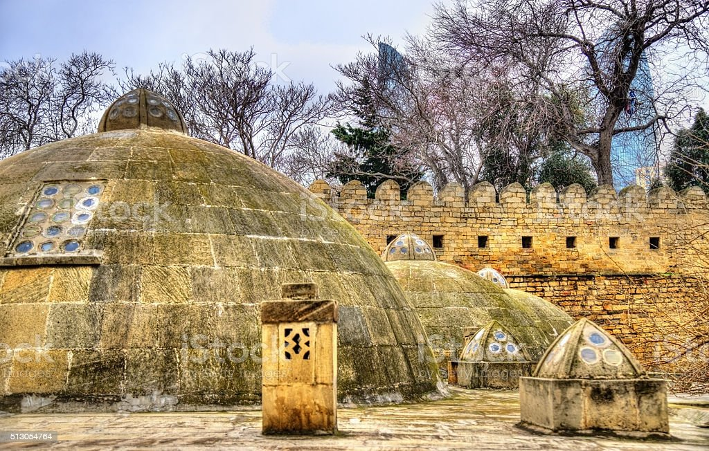 Round roofs of ancient public baths in Baku stock photo