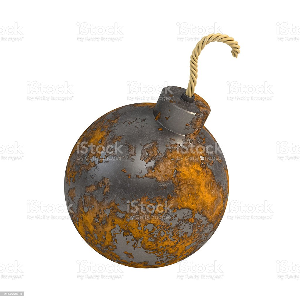 Round rusty bomb isolated on a white background. 3d illustration stock photo
