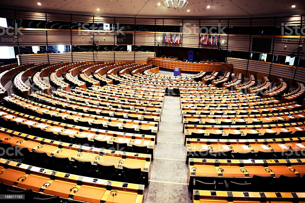Round seating arrangement of the European parliament stock photo