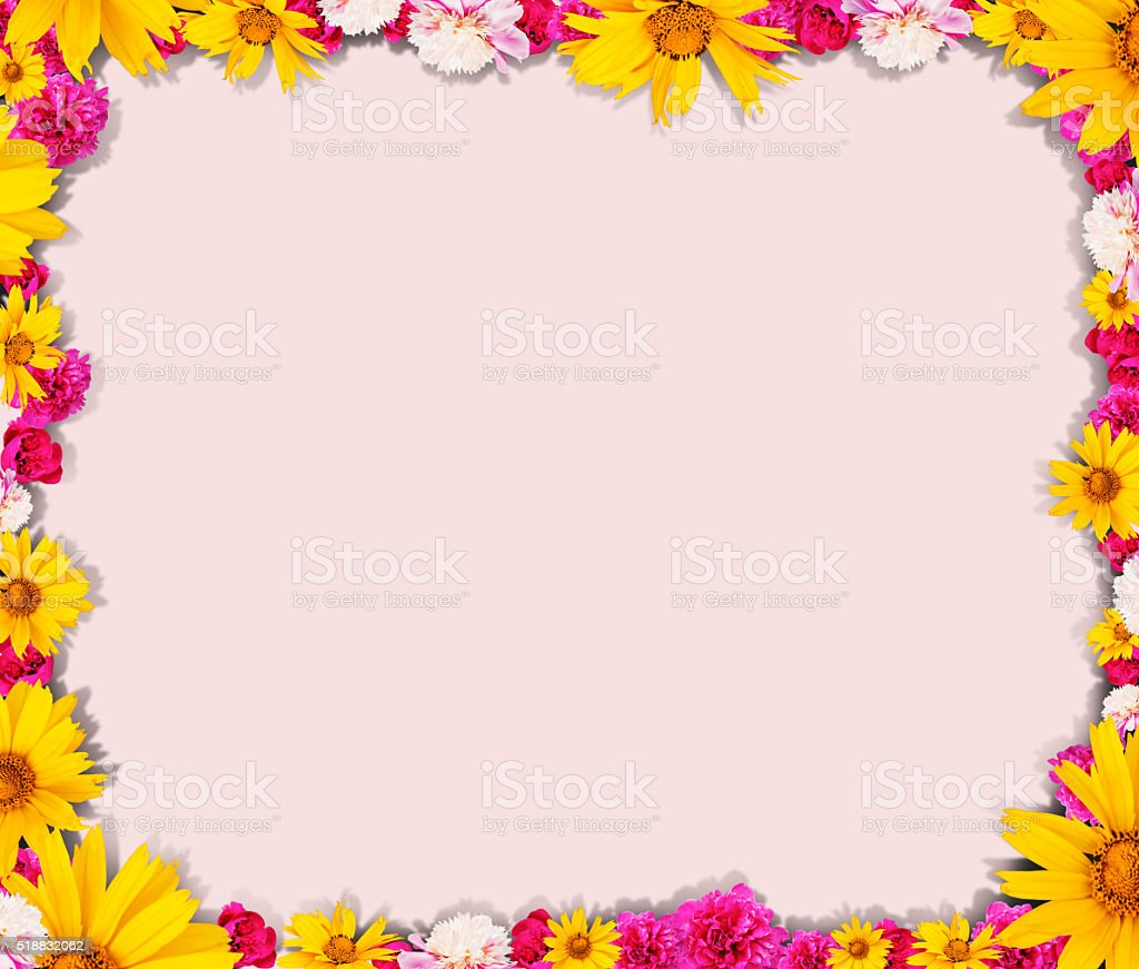 Round shape from flowers stock photo