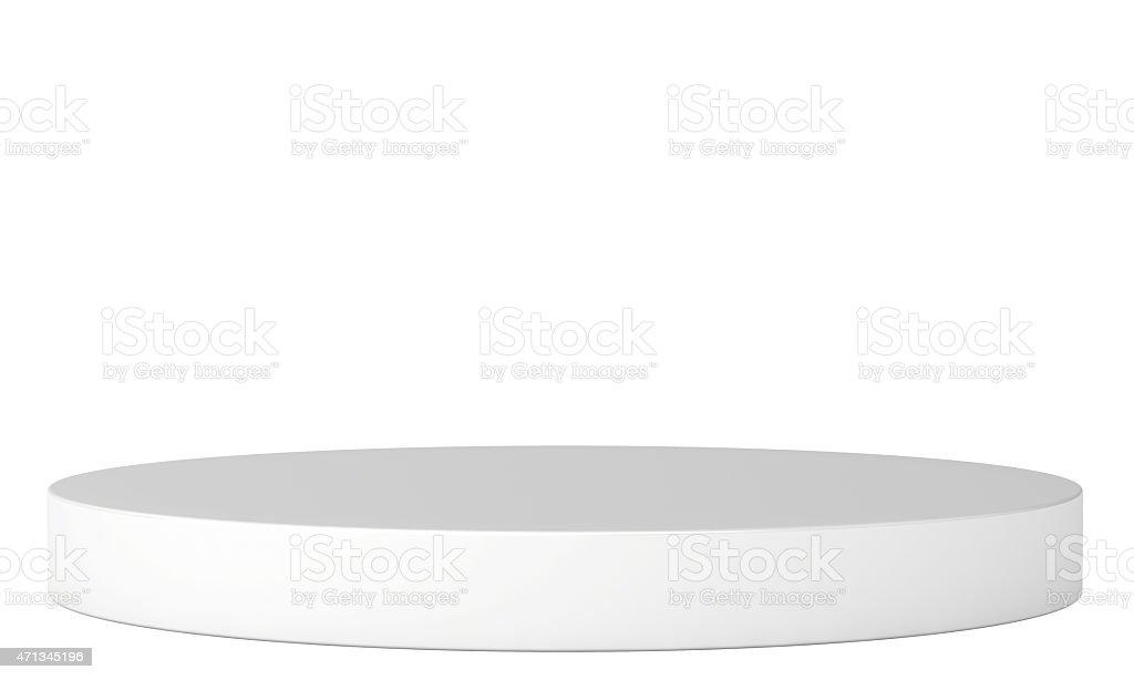 Round single podium isolated on a white background stock photo