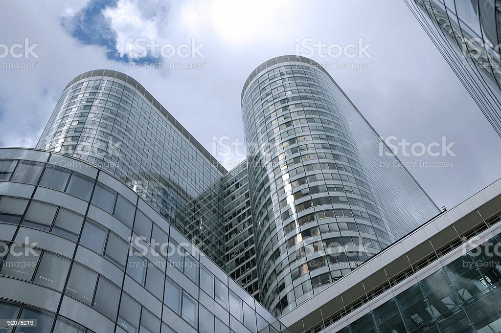 Round skycrapers from below royalty-free stock photo