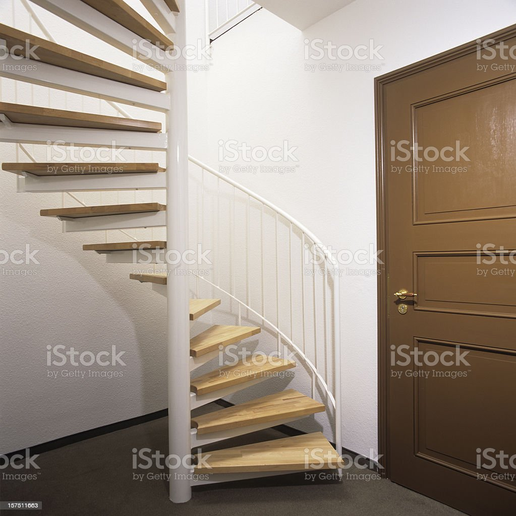 Round staircase in home royalty-free stock photo
