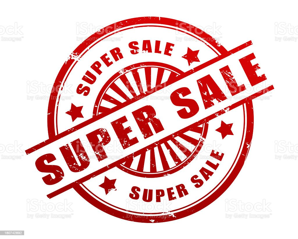 Round stamp with text Super Sale stock photo