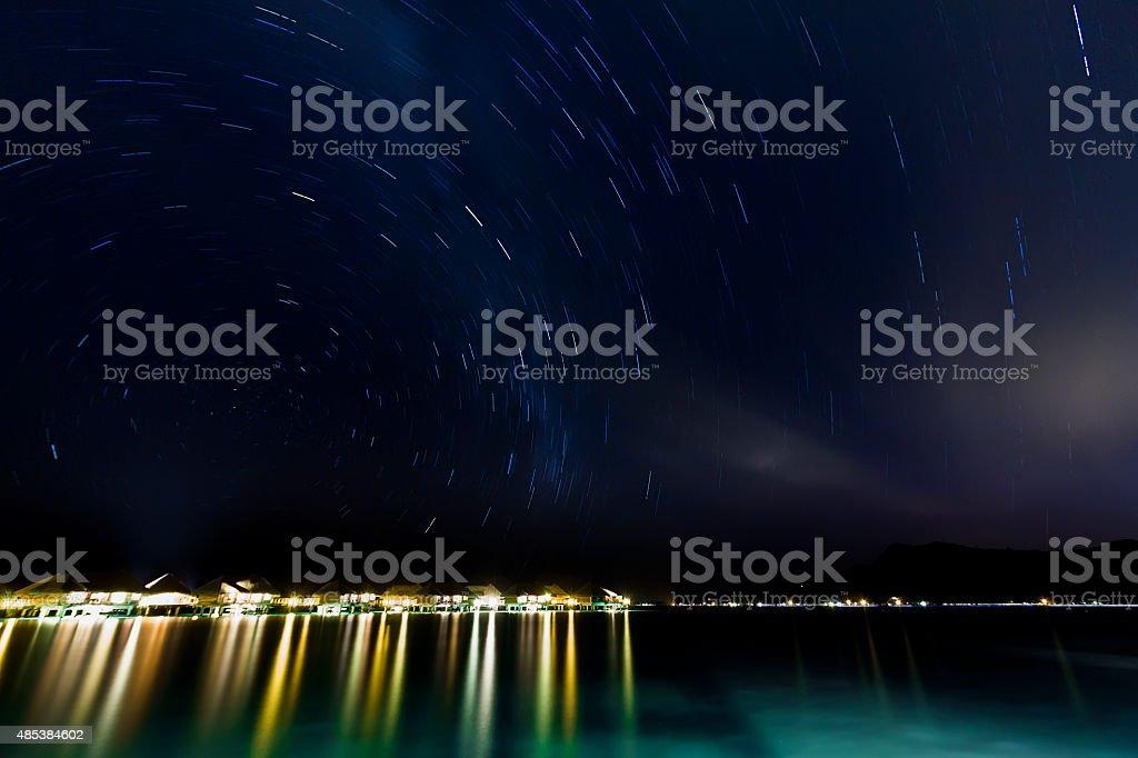 Round Star Trail Over Bora Bora stock photo