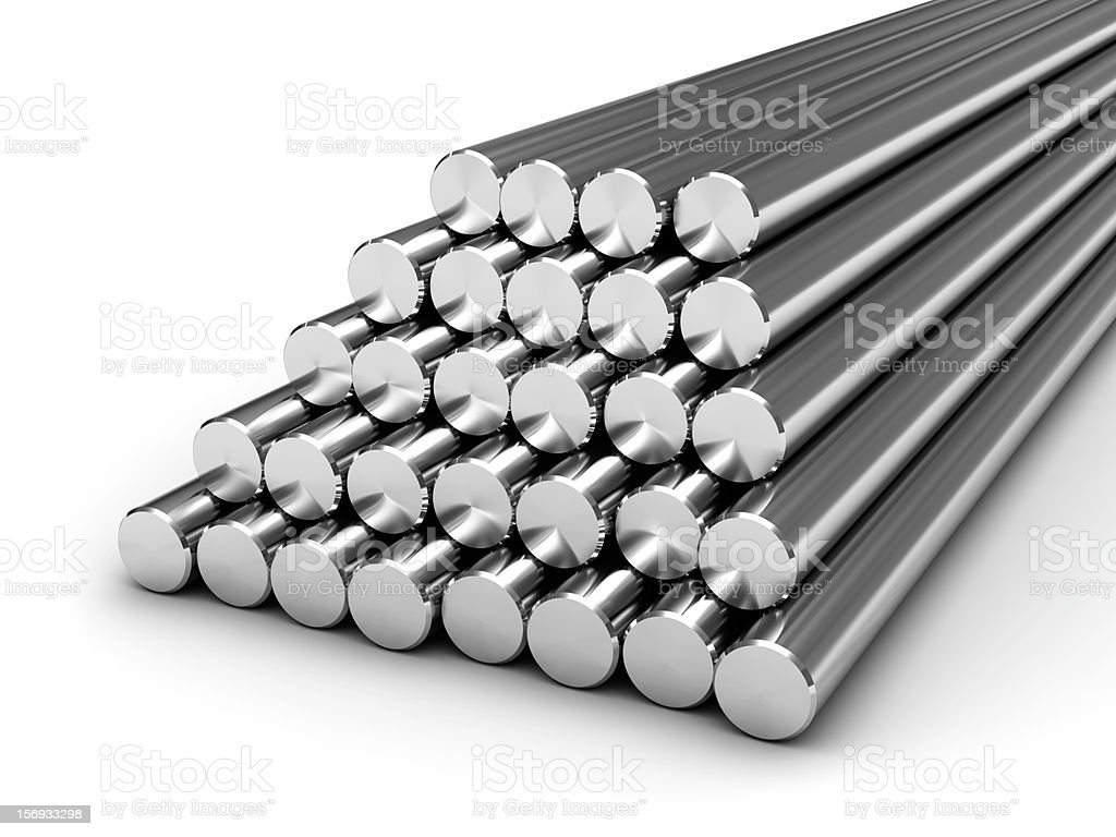 Round steel bars stock photo