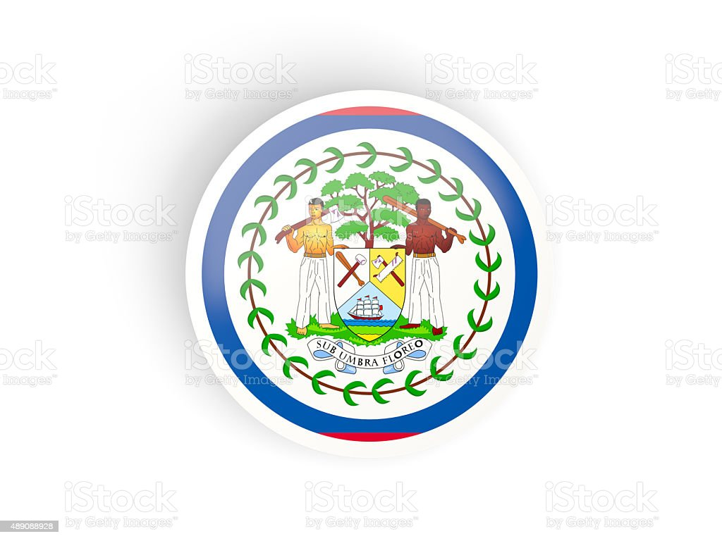 Round sticker with flag of belize stock photo