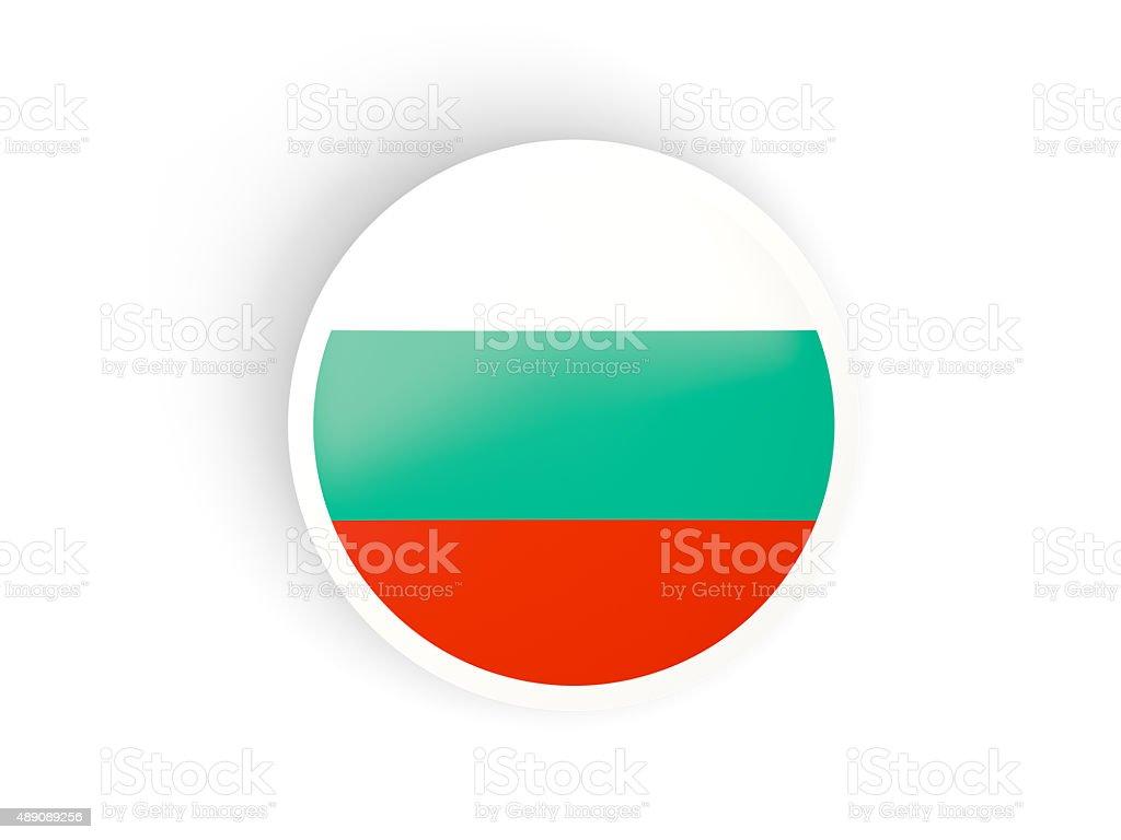 Round sticker with flag of bulgaria stock photo