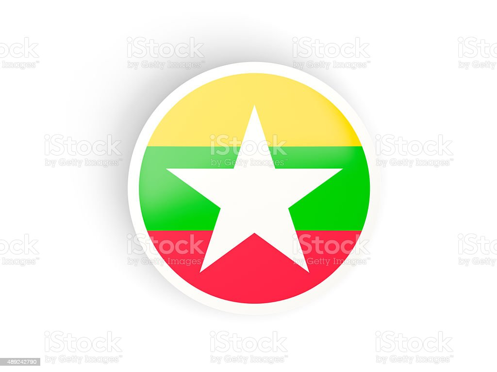 Round sticker with flag of myanmar stock photo