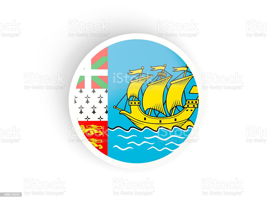 Round sticker with flag of saint pierre and miquelon stock photo