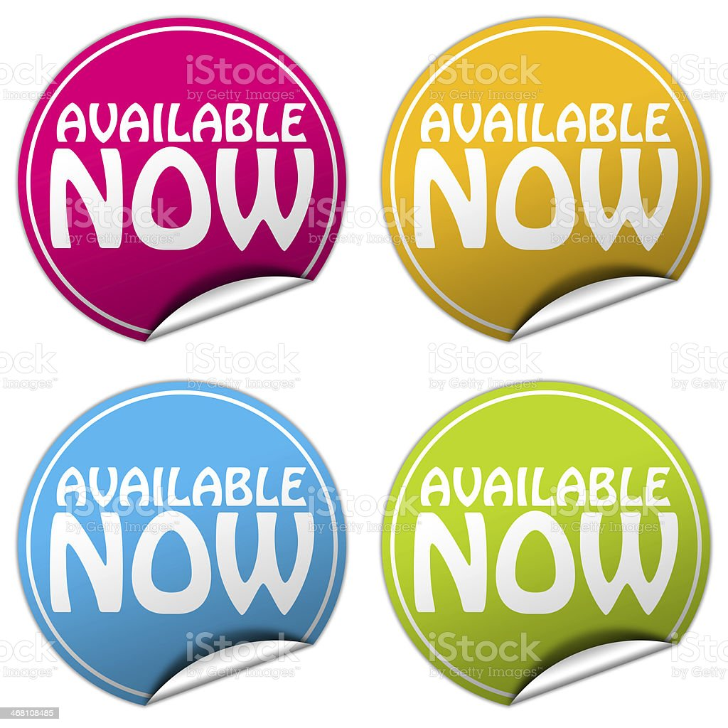 AVAILABLE NOW round stickers set on white background stock photo