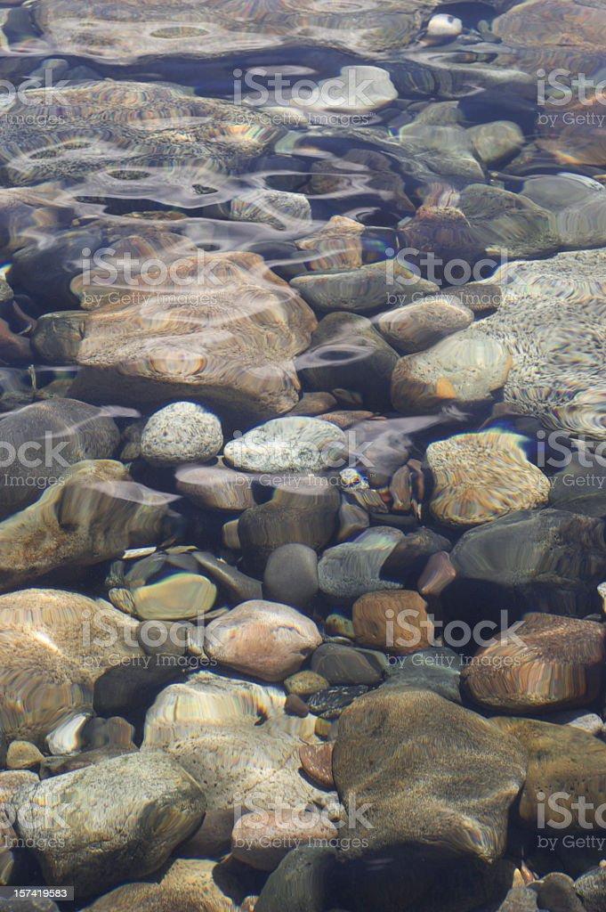 Round stones under water stock photo