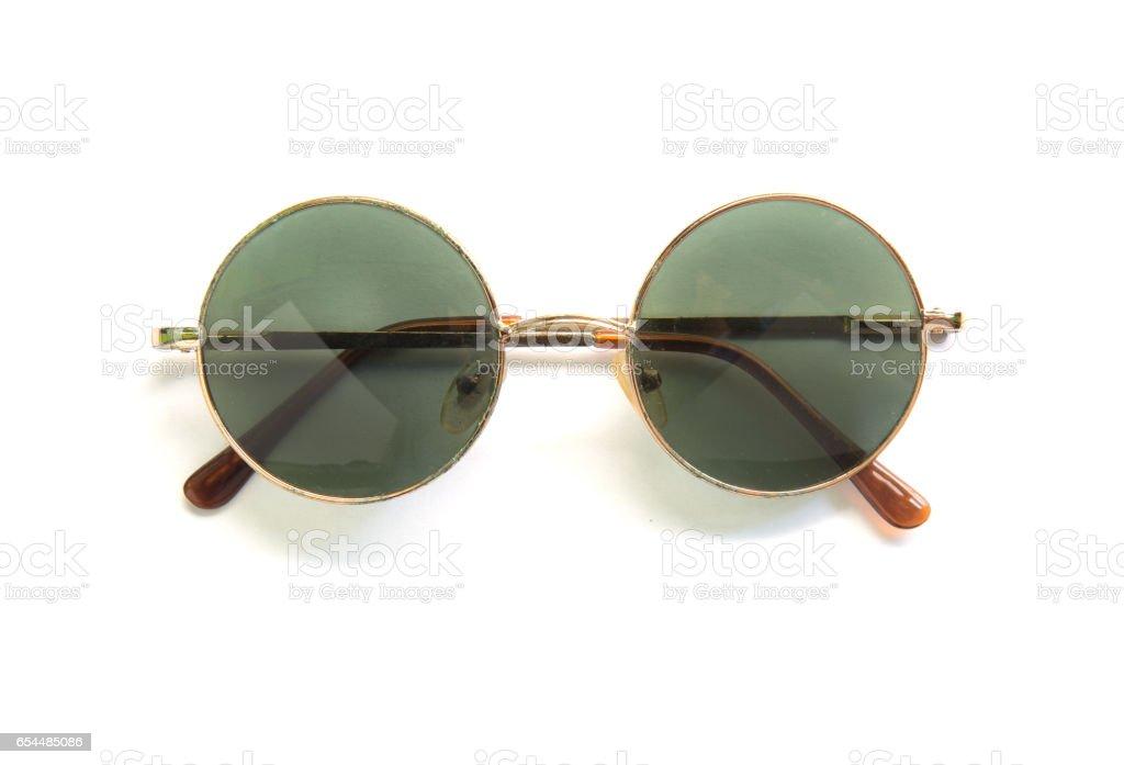 Round sunglasses isolated on white background stock photo