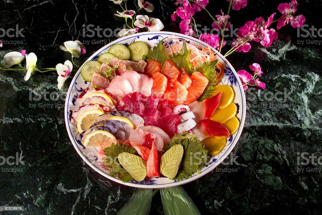 Round Sushi tray royalty-free stock photo