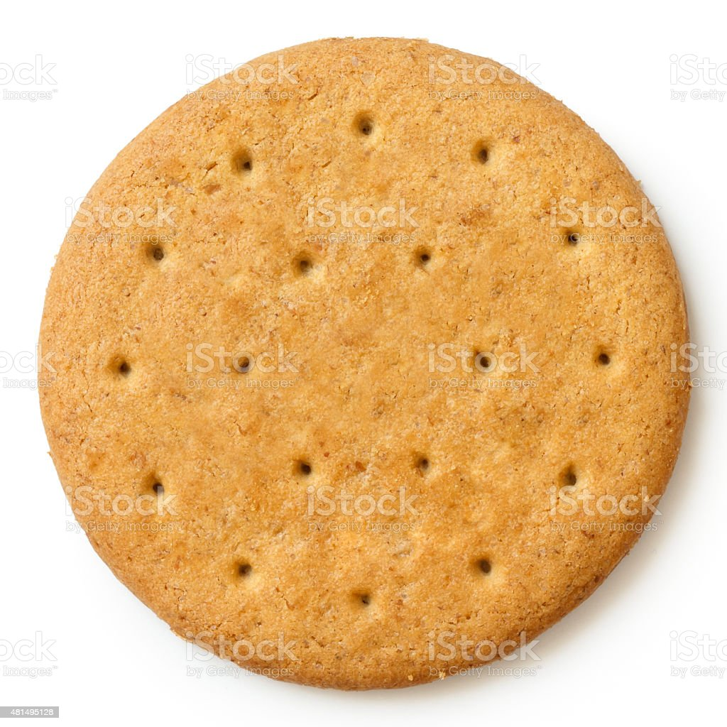Round sweetmeal digestive biscuit isolated from above. stock photo