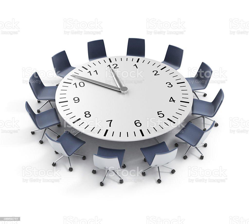 round table meeting deadline stock photo