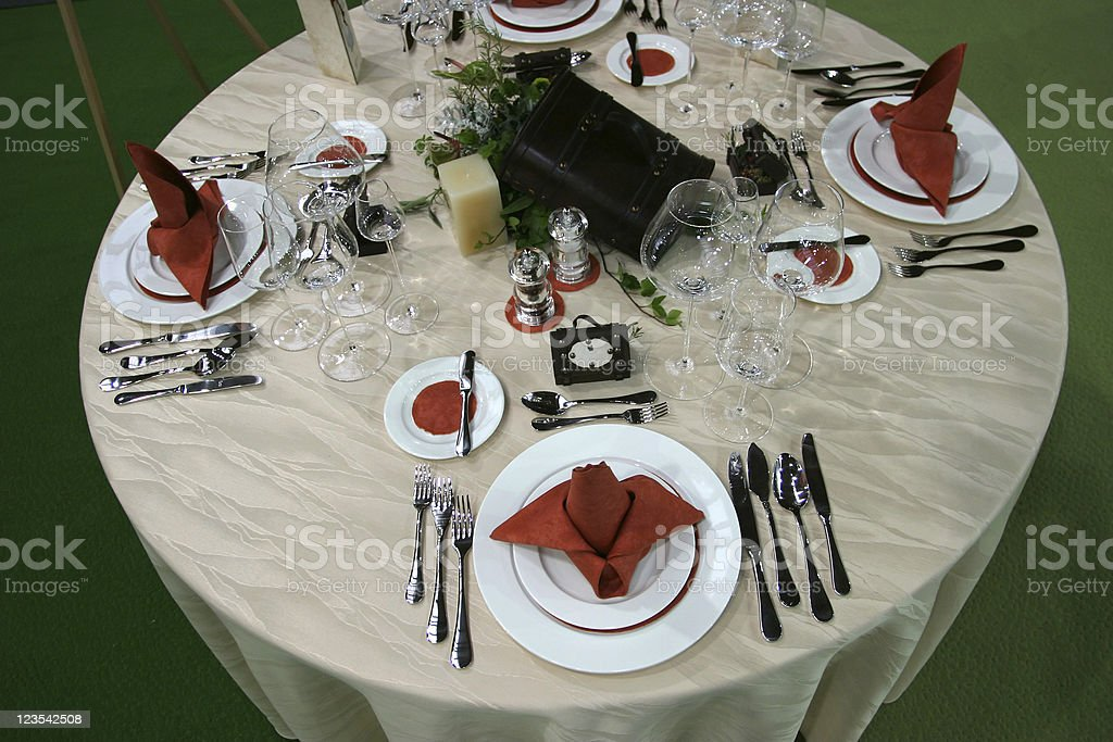 Round table set for four royalty-free stock photo