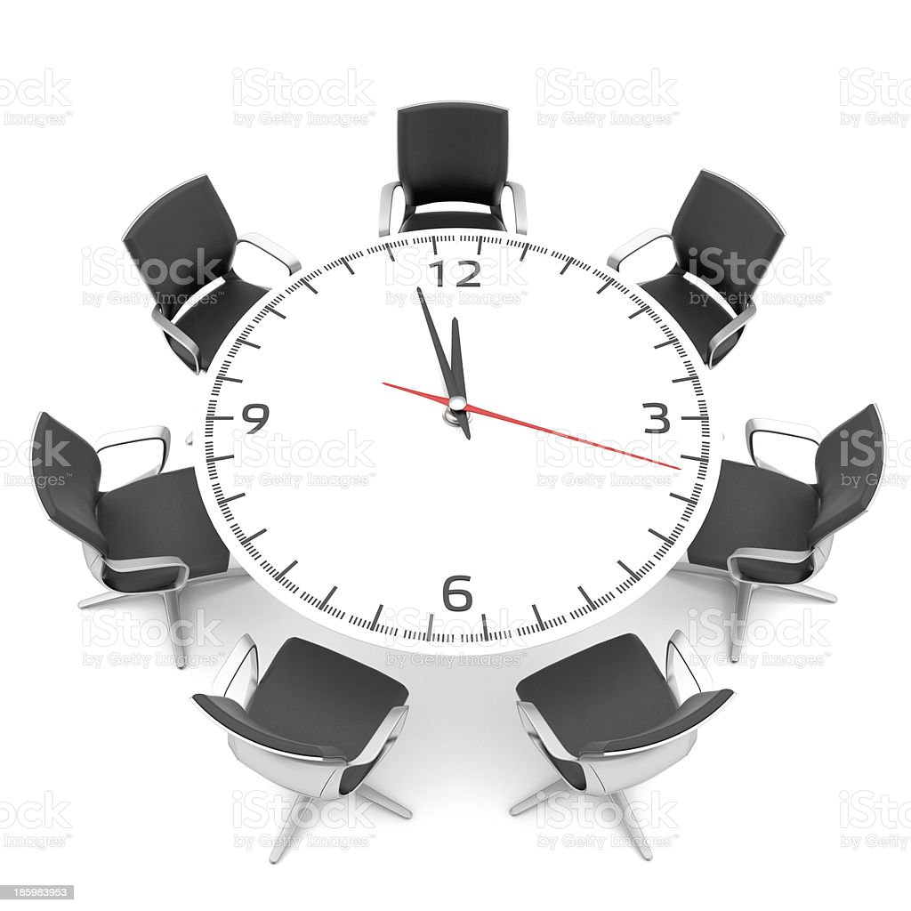 round table with a large clock face royalty-free stock photo