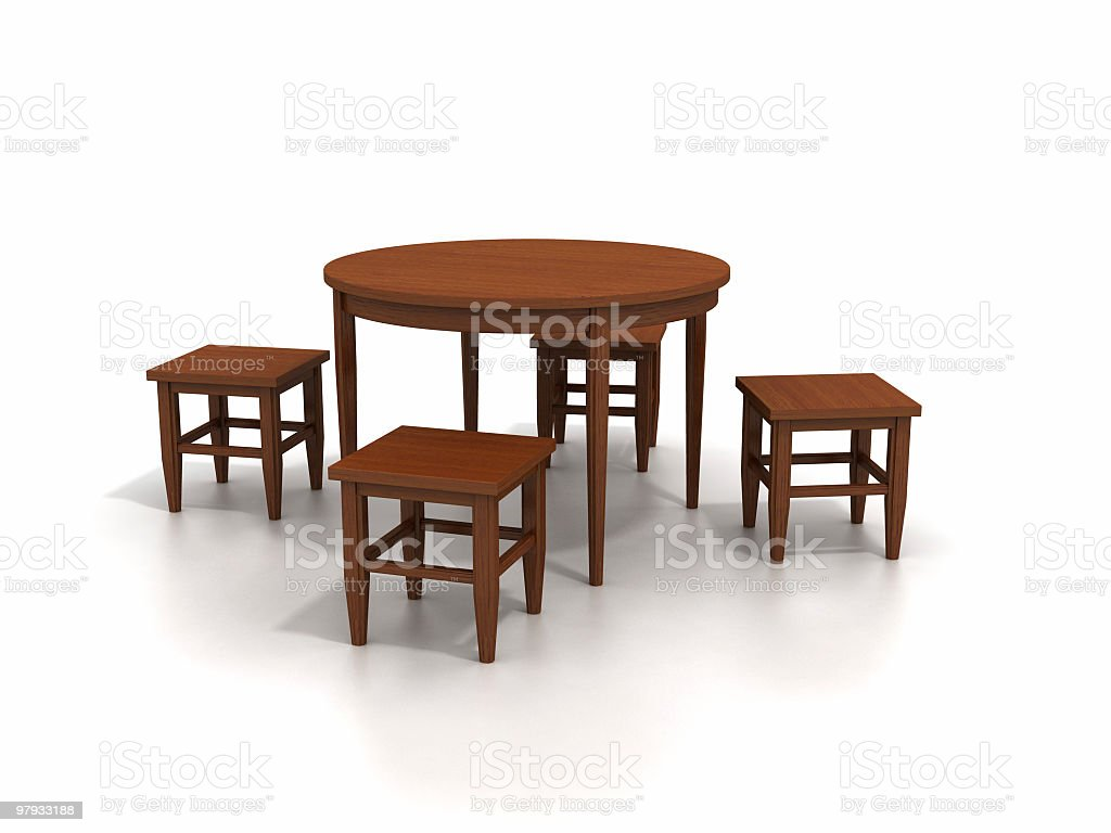 Round table with stools stock photo