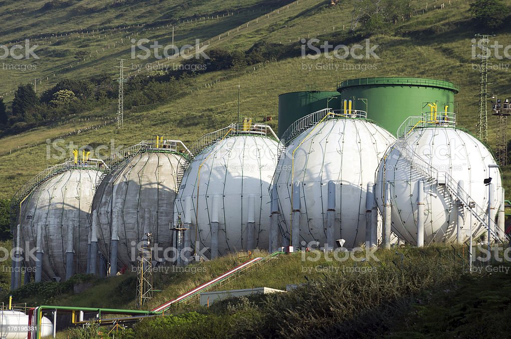 round tanks of gas royalty-free stock photo