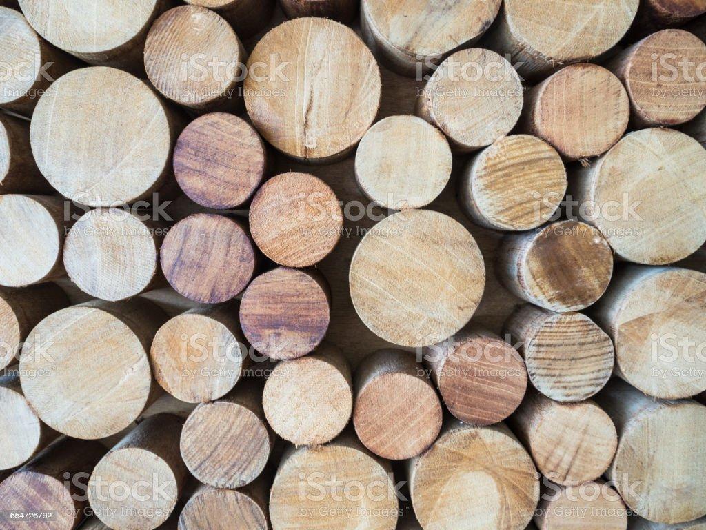 Round teak wood stump background stock photo