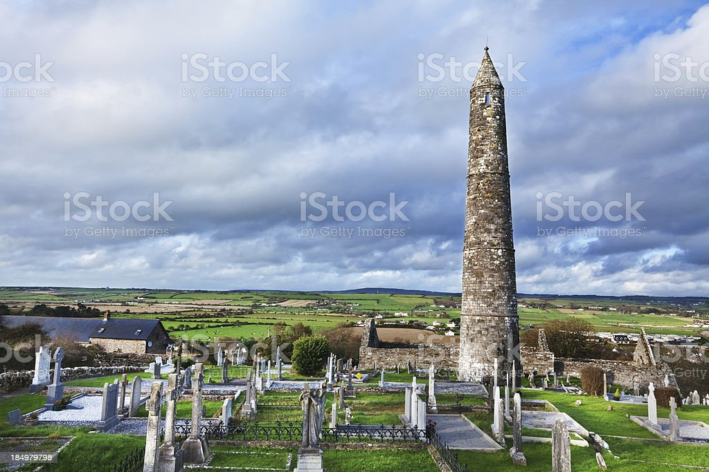 Round tower at  Ardmore,  County Waterford, Ireland stock photo