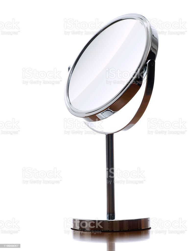 Round vanity mirror isolated on white royalty-free stock photo