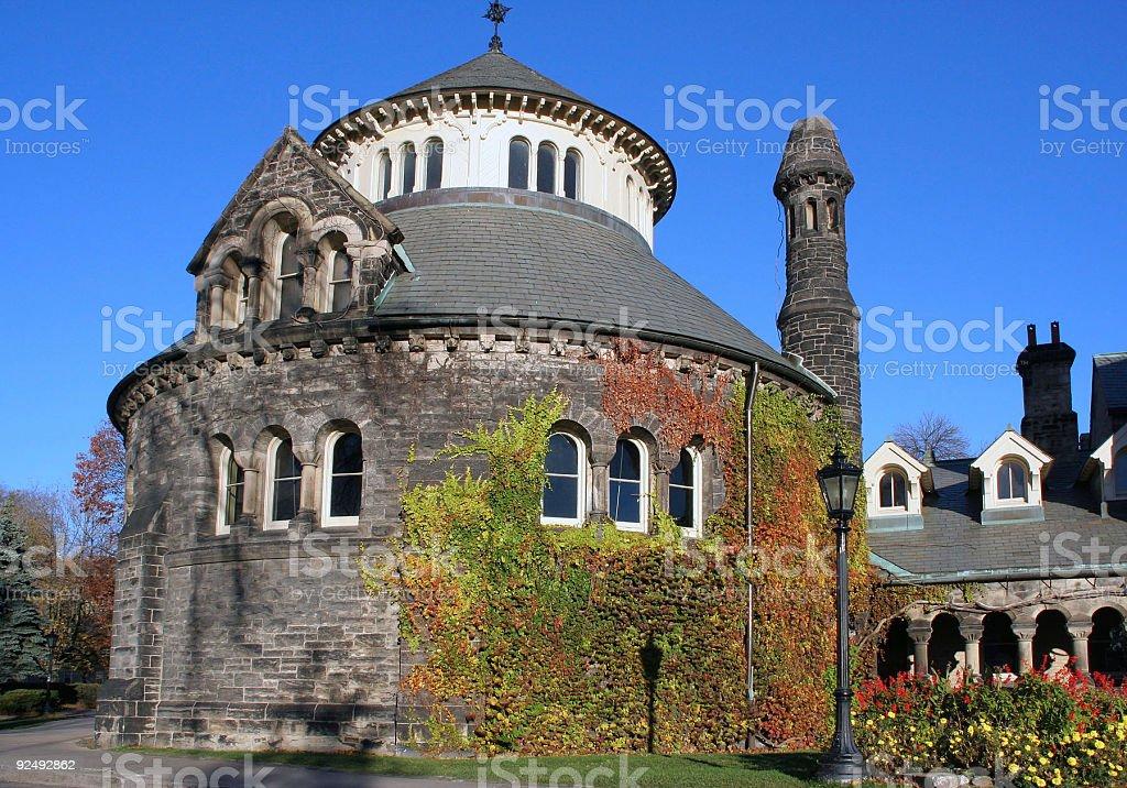Round Vine Covered university building stock photo