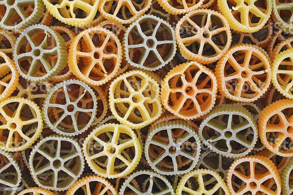 Round wagon wheel pasta stock photo