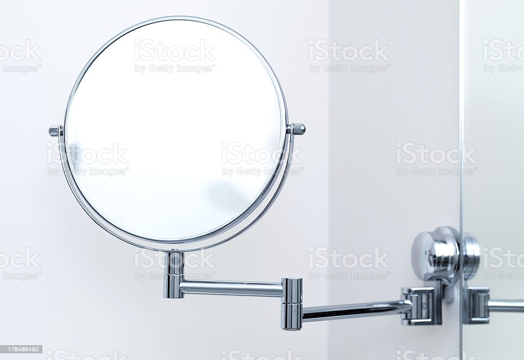 Round wall mirror for the bath. Close-up photo stock photo