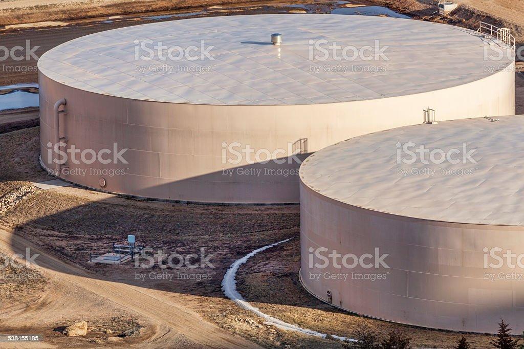 round water tanks stock photo
