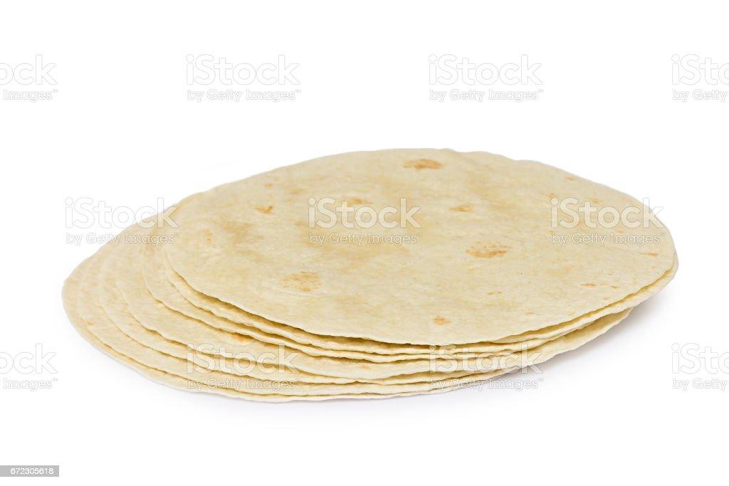 Round wheat tortillas stock photo