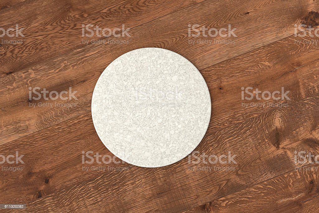 Round white coaster stock photo