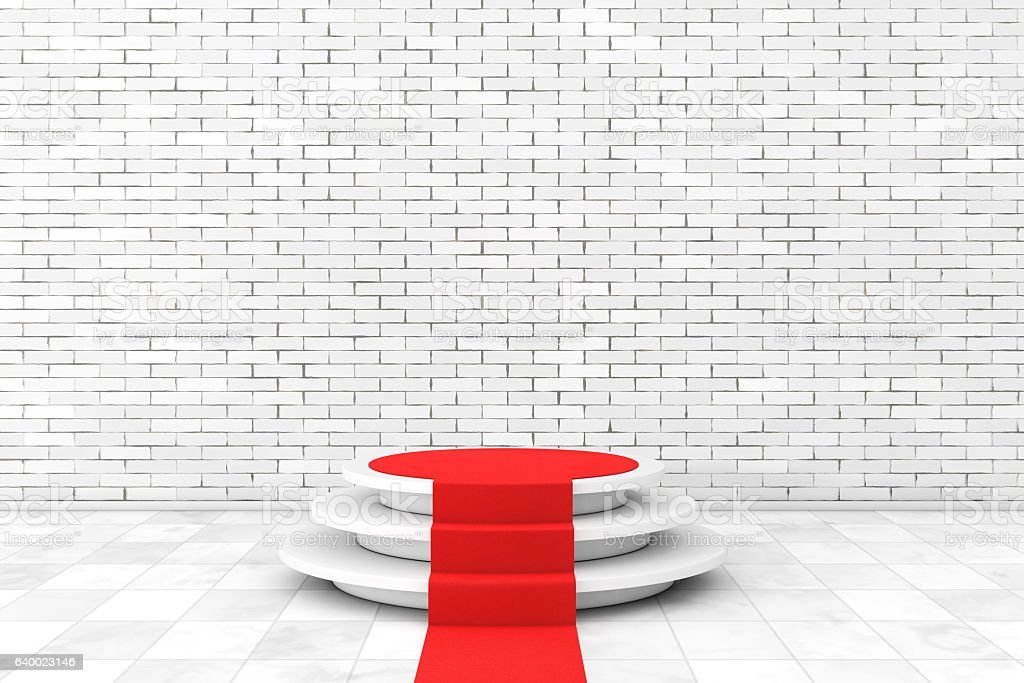 Round White Pedestal with Steps and a Red Carpet stock photo
