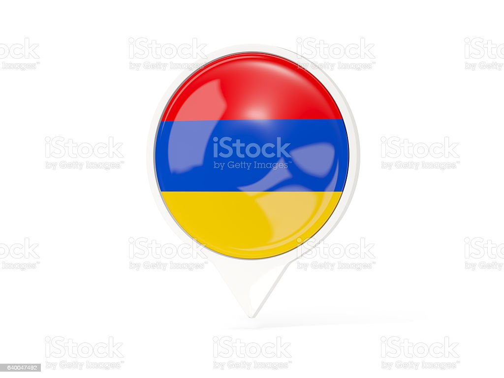 Round white pin with flag of armenia stock photo