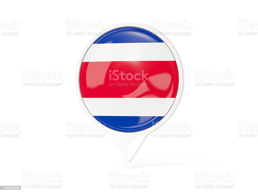 Round white pin with flag of costa rica stock photo