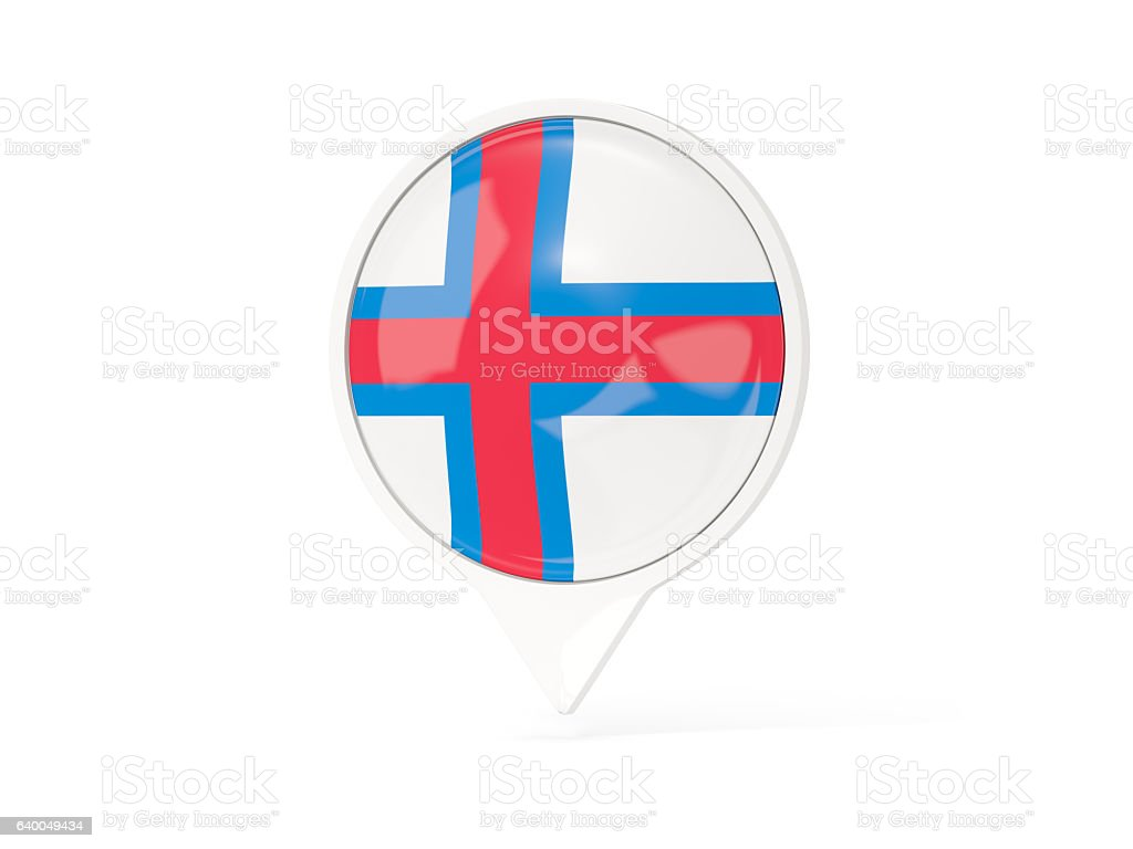 Round white pin with flag of faroe islands stock photo