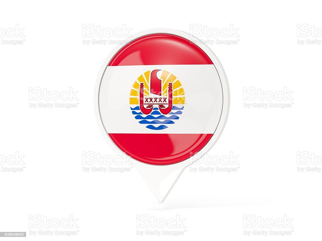 Round white pin with flag of french polynesia stock photo