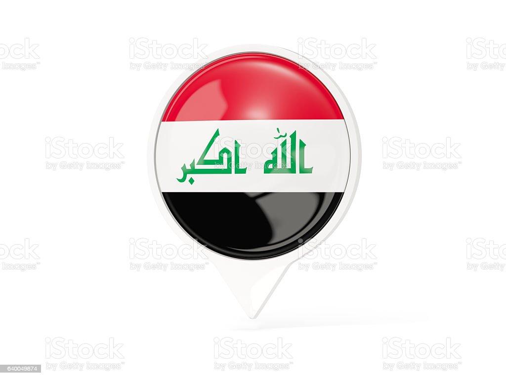 Round white pin with flag of iraq stock photo