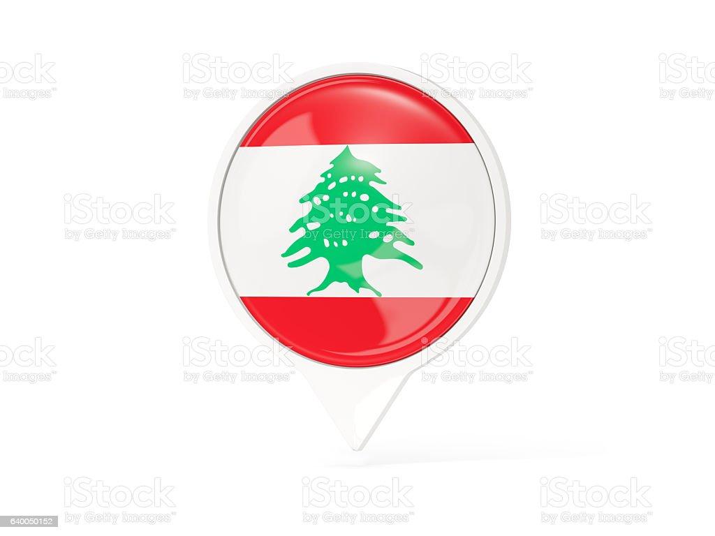 Round white pin with flag of lebanon stock photo