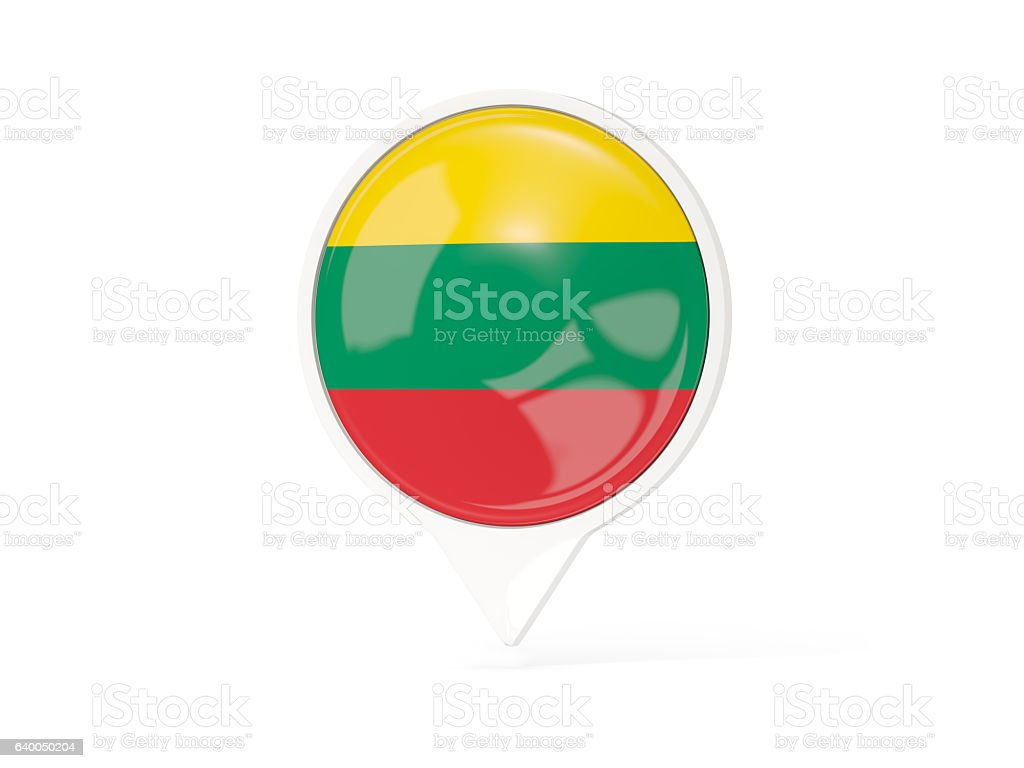 Round white pin with flag of lithuania stock photo