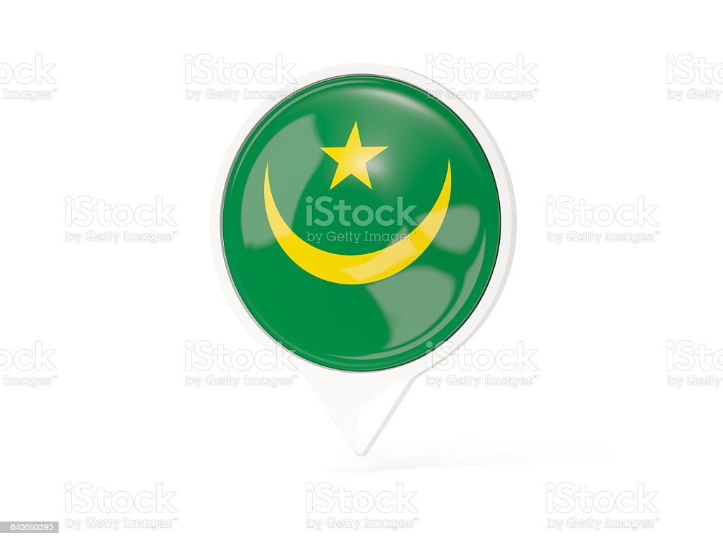 Round white pin with flag of mauritania stock photo