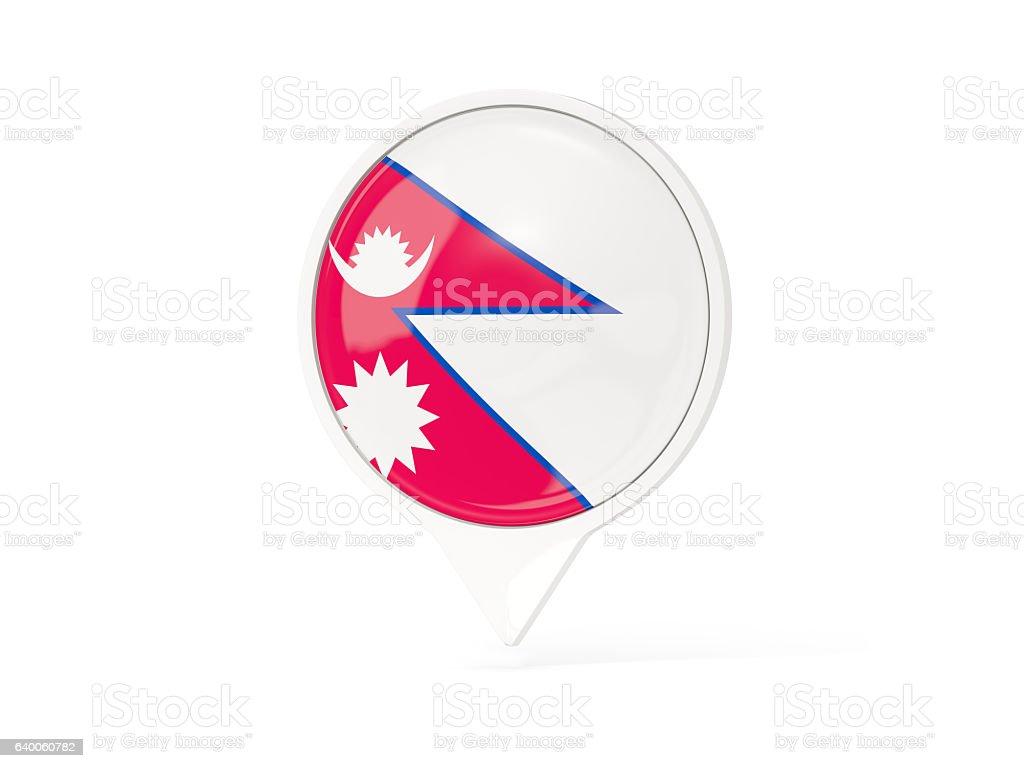 Round white pin with flag of nepal stock photo