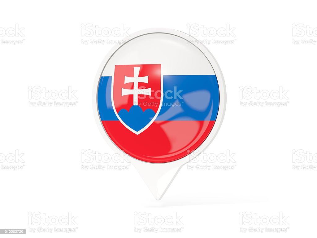 Round white pin with flag of slovakia stock photo