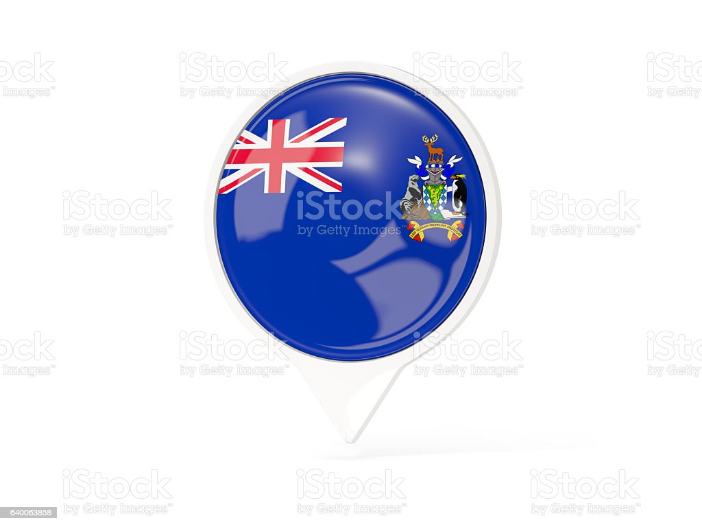 Round white pin with flag of south georgia stock photo