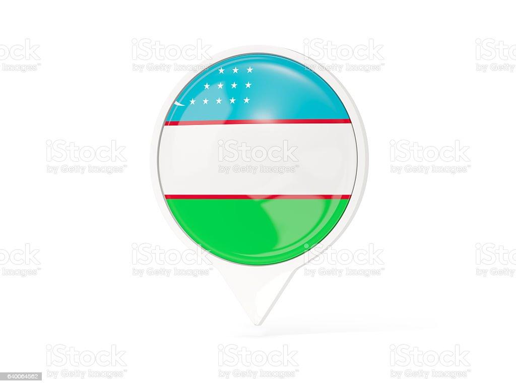 Round white pin with flag of uzbekistan stock photo