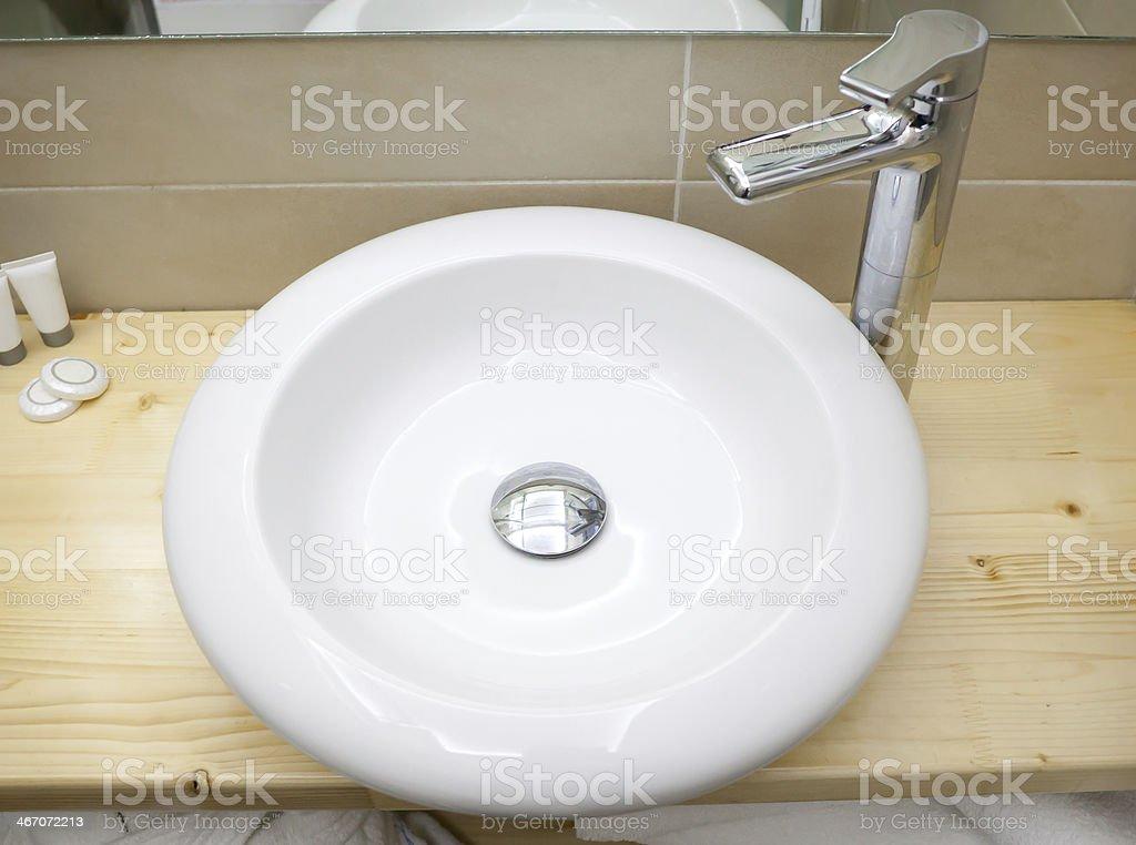 Round white sink in modern bathroom royalty-free stock photo