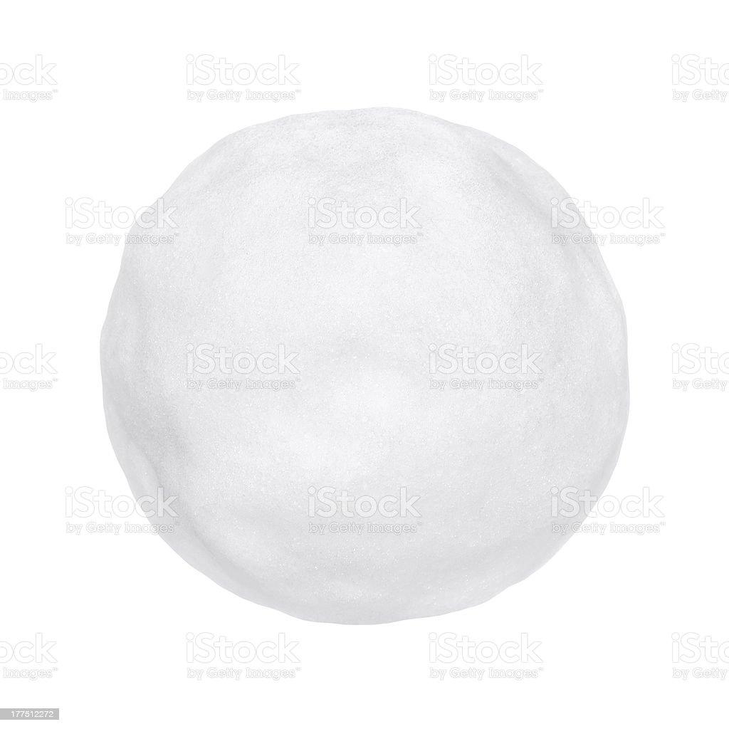 A round white snowball or hailstone on a white background stock photo