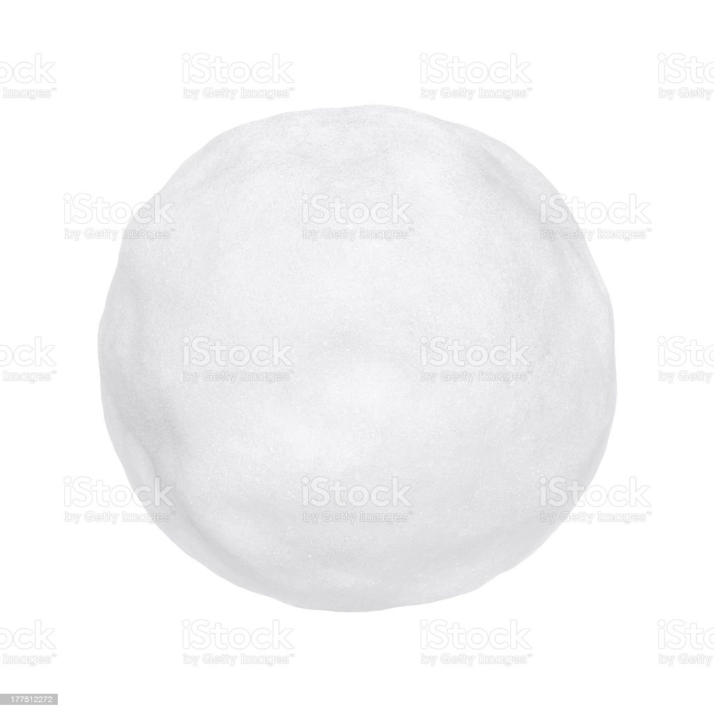 A round white snowball or hailstone on a white background stock photo